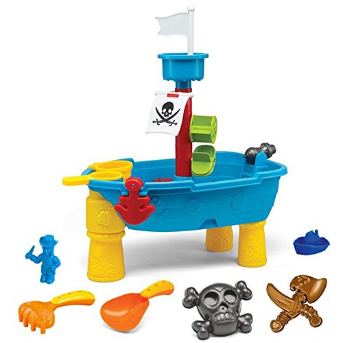 Liberty Imports Pirate Ship Beach Sand and Water Play Table for Kids with Shovel, Rake, Sand Wheel, Mini Boat, Shape Molds and More