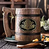 Dungeon Master Beer Mug. Dungeon and Dragons Mug. Dungeon Master Stein. D&D Gift. D20 Wooden Beer Stein. Best Gift. Wooden Beer Mug. Wood Beer Mug Gamer Gift Beer Tankard K161 /0.6L / 22 ounces