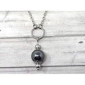 Chokerhalskette für Damen aus Edelstahl mit Ringen und schwarzen Hämatitperlen