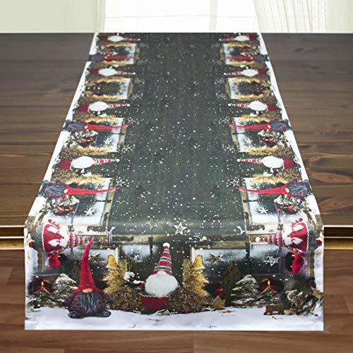 Kamaca Tischläufer Wichtel hochwertiges Druck-Motiv mit wundervollen weihnachtlichen Motiven EIN Schmuckstück auf jedem Tisch zu Winter Advent Weihnachten (WICHTEL, Tischläufer 40x140 cm)