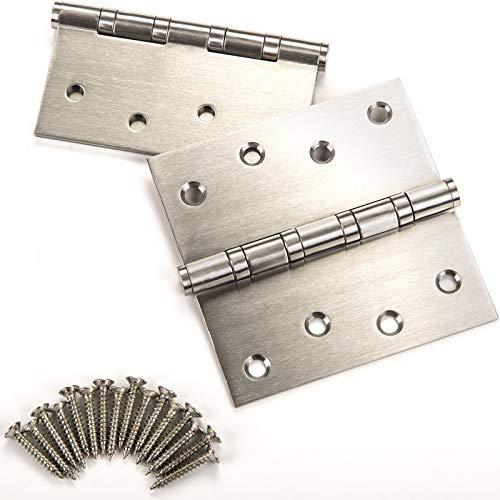 4 Stück SO-TECH® Türband Scharnier Aufschraubscharnier Edelstahl rostfrei kugelgelagert mit Edelstahlschrauben/Tragkraft 60 kg/Materialstärke 2,5 mm / 100 x 100 mm