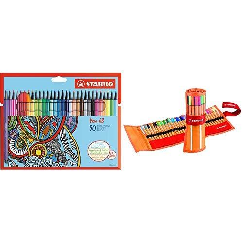 Premium-Filzstift - STABILO Pen 68-30er Pack - mit 30 verschiedenen Farben & Fineliner - STABILO point 88 - 30er Rollerset - mit 30 verschiedenen Farben inklusive 5 Neonfarben