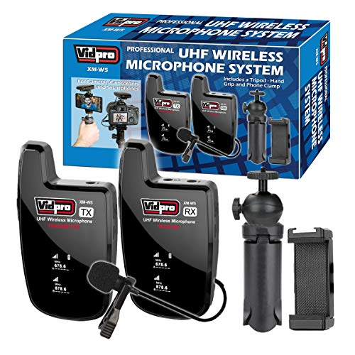 Vidpro XM-W5 Professional UHF Wireless Lavalier Microphone System for Smart Phones, Cameras, DSLRs, Computers. Includes Phone Holder Grip and Mini Tripod