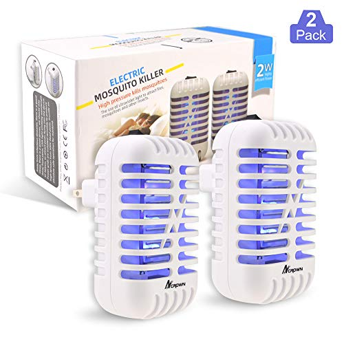 Bug Zapper Mosquito Killer, 2 Packs Indoor Plug-in Electric Insect Repellent with UV Light, Power Portable Odorless Noiseless Fly Killer for Mosquitoes Fruit Flies and Flying Gnats (White)