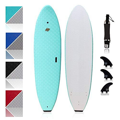 Premium Surfboard for Beginners – Wax-Free Soft-Top Foam Surfboard – 8'8' Ruccus Aqua with 3 Thruster Fins, Fin Key, and 7' Leash – Custom Beginner Shape for Easier, Better Surfing for Adults & Kids