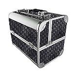 AUFUN Kosmetikkoffer mit 2 Klappschlössern Groß Schminkkoffer für Gepäck XL 320 * 210 * 260mm Make-up Case aus Alu, Edelstahl (17L, Schwarz)