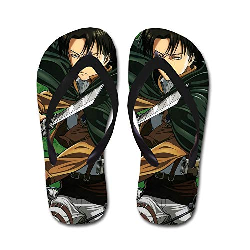 KaiWenLi Attack On Titan Series/Levi/Rivaille Sword Pattern/Anime Flip-Flops/Beach Beach Shoes/Thong Sandals/Best Shoes in Summer/Best Gift for Anime Fans and Otaku (Size : M)