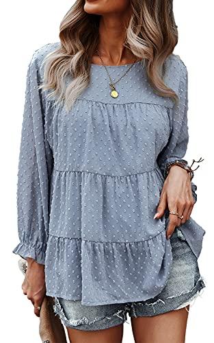 PRETTYGARDENWomen's Summer Loose ChiffonBlouse Mesh Long Sleeve Casual Round Neck Peplum Tops (Blue, Large, l)