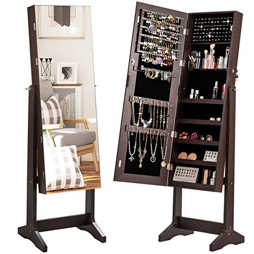 CHARMAID Free Standing Jewelry Cabinet with Full Length Mirror, 2-in-1 Lockable Jewelry Armoire Organizer with Large Storage Capacity, 3 Angles Adjustable, Jewelry Cabinet with Mirror (Brown)