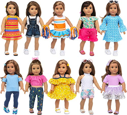 Ecore Fun 10 Sets American 18 Inch Doll Clothes and Accessories Doll Outfits Pajamas Dresses Cheerleader Uniform Fit for American Doll, Our Generation Doll, My Life Doll