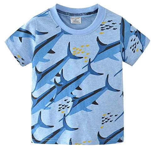 Plus Nao(プラスナオ) Tシャツ 子供服 半袖 ラウンドネック 海の生き物 魚 カジュアル プリント 普段着 お出掛け 着回し 夏 夏服 男の子 - 3T【95cm】