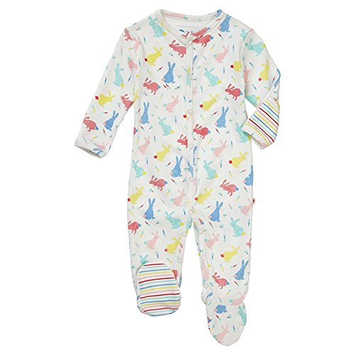 Piccalilly Footed Sleepsuit - Hopping Bunny 3-6 months