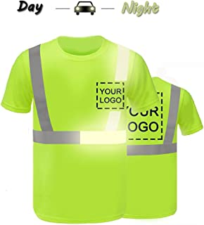 High Visibility Reflective Safety T-Shirts Custom Your Logo Hi Vis Outdoor Workwear Short Sleeve Shirt with Reflective Strips (XL, Neon Green - style 3)