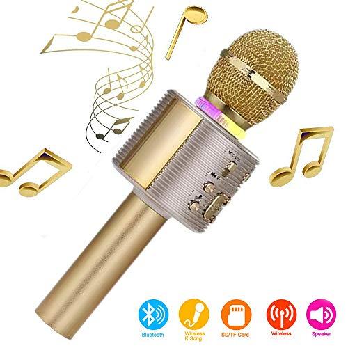 Karaoke microfoon, Bluetooth, draadloos, karaoke microfoon voor kinderen, paarbaar voor duetten met kleurrijke lichten, cadeau voor 5-jarige jongens (goud)