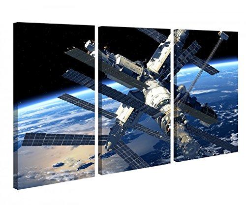 Leinwandbild 3 Tlg Raumstation MIR Weltraum Space Schiff Leinwand Bild Bilder Holz fertig gerahmt 9P997, 3 tlg BxH:120x80cm (3Stk 40x 80cm)