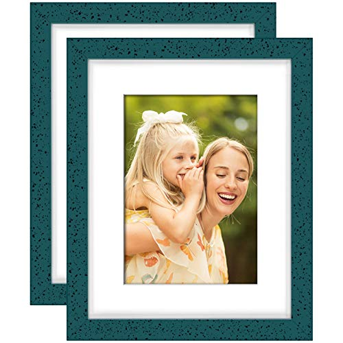 Yome 2 Pack 8x10 Blue Picture Frames with Mats, Photo Frames Set for Wall or Tabletop Display Pictures, Perpetuate Your Memories, Solid Wood and Plexiglass