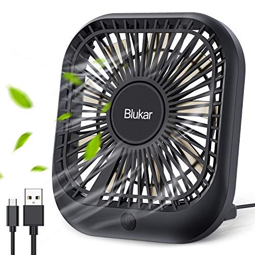 Blukar USB Ventilator, Mini Tischventilator mit 3 Geschwindigkeiten für Büro, Zuhause und Auto, USB Lüfter Leise Fan kompatibel mit Powerbank, Computer usw. [ inkl. 1,5M USB C Kabel ]