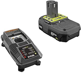 Ryobi 18V OnePlus+ Lithium 2.0Ah Compact Battery and Charger Kit includes a P118 Charger and P190 Battery (Renewed)