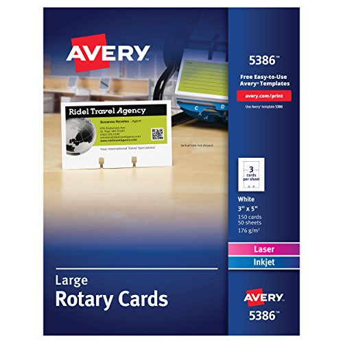 Avery 5386 Large Rotary Cards, Laser/Inkjet, 3 x 5, 3 Cards per Sheet (Box of 150 Cards), White