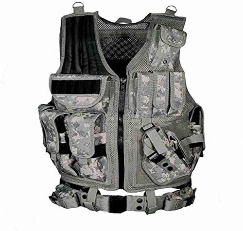 Chaleco táctico de pistola de aire paintball, caza al aire libre, chaleco de entrenamiento de combate ligero y transpirable, Acu.,