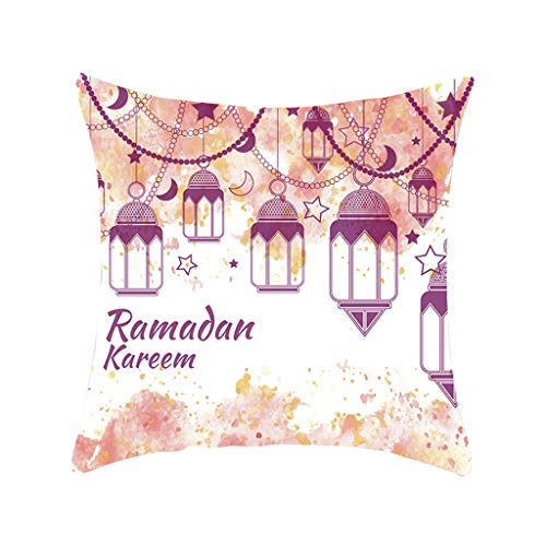 XNKLH Throw Pillow Covers, Various Colorful Ramadan Decorative Eid Ramadan Mubarak Light Double-Sided Pattern Sofa Cushion Cover Couch Decoration Home Gift Bed Pillowcase 18 x 18 Inch (C)