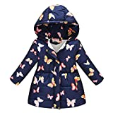 WOCACHI Girls Winter Coat, Toddler Kids Baby Girls Boys Butterfly Hooded Winter Warm Hooded Windproof Coat Windproof Windbreaker Animal Cartoon Pure Color Mittens Overall One-Piece Snowsuit