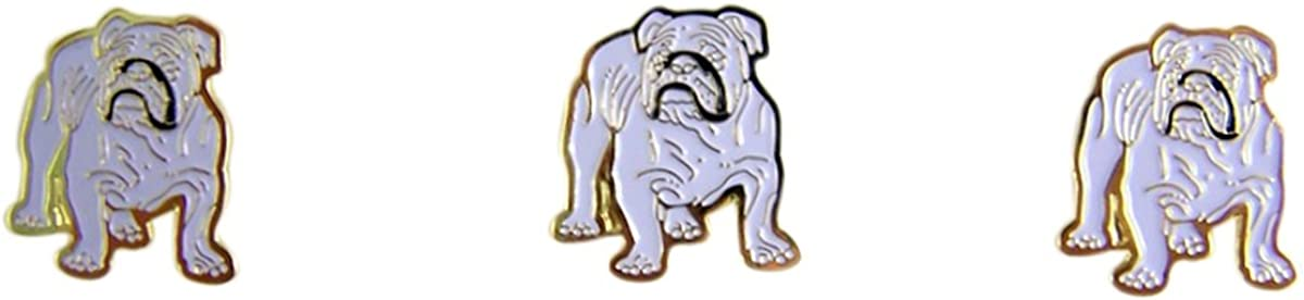 Bull Dog School Mascot Gold Toned with Enamel Lapel Pin, Pack of 3