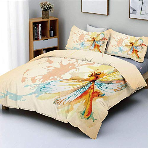 Duvet Cover Set,Watercolor Moth with Branch Print Wings on Abstract Backdrop Decorative 3 Piece Bedding Set with 2 Pillow Sham,Light Yellow Peach and Orange,Best Gift For Kids &