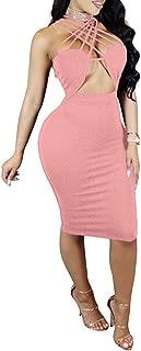 Women's Sexy Sleeveless Halter Bandage Cut Out Bodycon Nightout Party Midi Dress Clubwear
