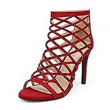 DREAM PAIRS Women's Red Rhinestone Ankle...
