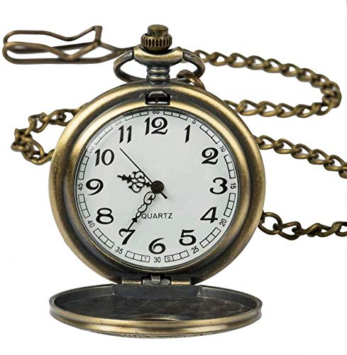 ZHANGYY Vine Steampunk Bronce Cuarzo Reloj de Bolsillo Números Romanos Reloj Tiempo...