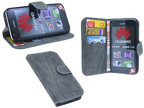 ENERGMiX Buchtasche kompatibel mit Huawei Ascend Y550 Hülle Case Tasche Wallet BookStyle mit Standfunktion Anthrazit