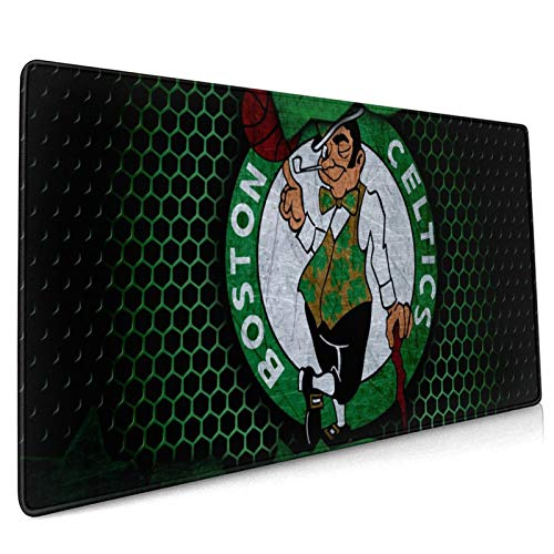 MSOhuSIJWx Large Gaming Mouse Pad Boston Basketball Cel-tics 15.8x35.5 Desk Mat Long Non-Slip Rubber Stitched Edges