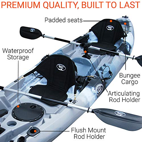 BKC UH-TK219 12 foot Tandem Sit On Top Kayak 2 or 3 person with 2 Paddles and Seats and 5 Fishing Rod Holders Included (Grey Camo)