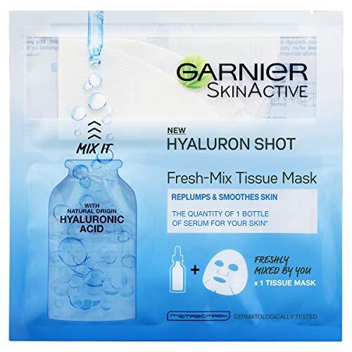 Garnier Fresh-Mix Replumping Tissue Mask, Hyaluronic Acid Tissue Face Sheet Shot Mask 33 g