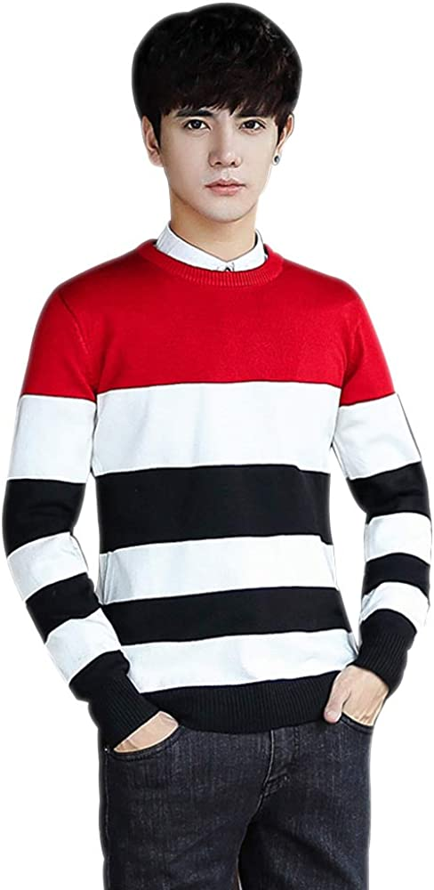 BOZEVON Mens Striped Round Neck Sweater - Pullover Long Sleeved Jumper