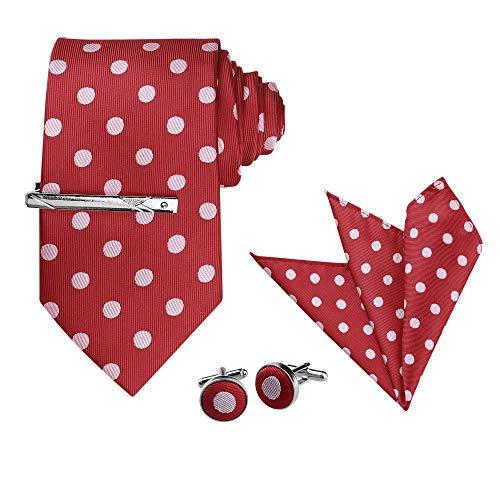 Allegra K Conjuntos de corbatas con clip de corbata de lunares para hombre, Rojo y rosa., Taille unique