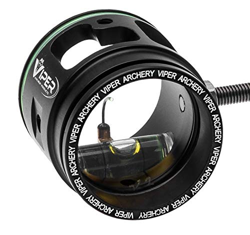 Viper Archery - Pro Series Target Archery Scope and Sight for Recurve and Compound Bows, 1 3/8' Aircraft Aluminum Housing, 0.019 Green Up Pin, 4X Magnification Glass Lens - Made in USA