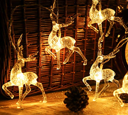 i-Found - Corda di renna natalizia da 1,5 m, 10 LED a forma di renna, alimentazione a batteria, adatta per la camera da letto di tutti i giorni, ornamenti di Natale (luce bianca calda)