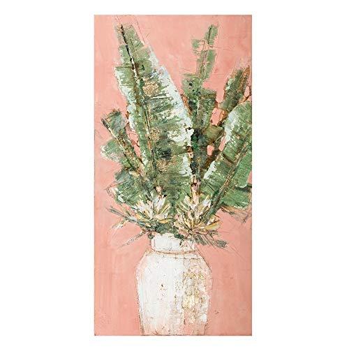Cuadro de Hojas Pintado a Mano en Lienzo Rosa de 50x100 cm - LOLAhome