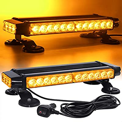 Linkitom LED Strobe Flashing Light Bar -Double Side Amber 30 LED High Intensity Emergency Hazard Warning Lighting Bar/Beacon/with Magnetic and 16 ft Straight Cord for Car Trailer Roof Safety by LINKITOM