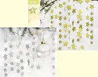 MOFFY 【 きらめきをプラス 】 【 キラキラ 星 ガーランド 金 銀 2種類セット 】誕生日 ハーフバースデー パーティー ハロウィン クリスマス 飾り セット ゴールド シルバー