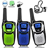 Walkie Talkies for Kids, 3 Pack Easy to Use Rechargeable Long Range Walky Talky Handheld Two Way Radio with NOAA for Hiking Camping (1Blue & 1Green & 1Silver with Relugar Micro-USB Charger/Battery)