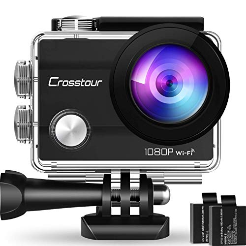 "Crosstour Action Camera 1080P Full HD Wi-Fi 14MP PC Webcam Waterproof Cam 2"" LCD 30m Underwater 170°Wide-Angle Sports Camera with 2 Rechargeable 1050mAh Batteries and Mounting Accessory Kits"