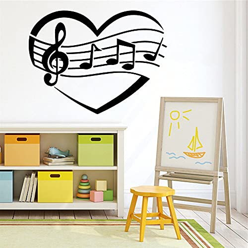 Dibujos animados nota Musical vinilo música pared pegatina papel tapiz niños decoración del hogar pegatinas de pared Mural A2 28x37cm