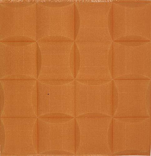 3D Tapete Wandpaneele selbstklebend - Moderne Wandverkleidung in Steinoptik in 4 verschiedenen Farben - schnelle & leichte Montage (12x Stück, Orange)