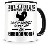 Samunshi® Tasse Eichhörnchen Deko mit Spruch Geschenke Geburtstag Kaffeebecher Kaffeetasse Becher H:95mm/D:82mm schwarz