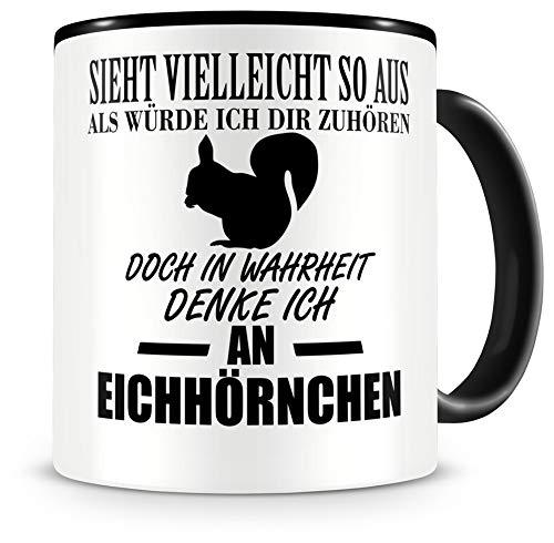 Samunshi® Ich denke an Eichhörnchen Tiere Tasse Kaffeetasse Teetasse Kaffeepott Kaffeebecher Becher H:95mm/D:82mm schwarz