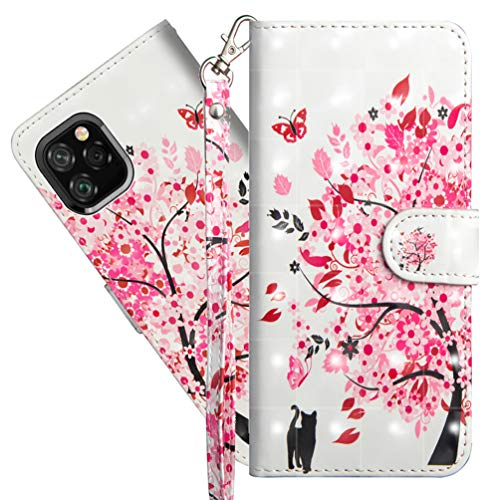 ISADENSER iPhone 11 Pro Max Case Cover Stylish for Women [Wallet Stand] Kickstand Credit Cards Slot Cash Pockets PU Leather Flip Wallet Case for iPhone 11 Pro Max 6.5 Inch 3D Cat Under Tree YX