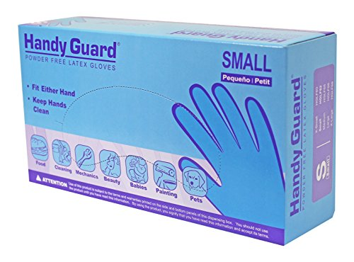 Adenna Handy Guard 4 mil Latex Powder Free Gloves (White, Small) Box of 100